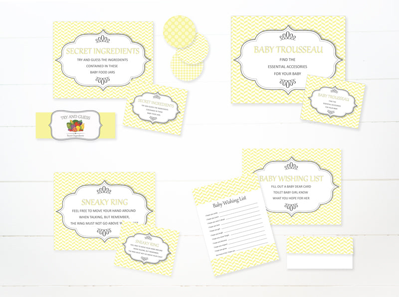 picture relating to Printable Baby Shower Labels named Boy or girl Shower Game titles Fastened Gray AND YELLOW Do-it-yourself - Kid Shower - Labels, Posters  Guide - PDF printable
