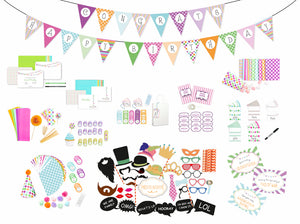DIY Essentials Party Box - Party Supplies for any celebration: Party Bunting, Invitations, favors, photo booth props and much more