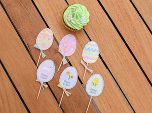 Easter cupcake toppers - 6 designs - Easter decoration - DXF, EPS, SVG, PDF