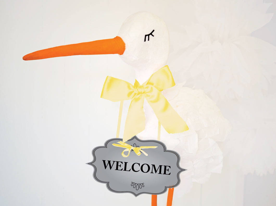 Baby Shower Sign WELCOME and DIY 3D Stork tutorial  - PDF - Cut files -  DIGITAL DESIGN
