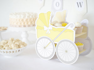 Baby Buggy GREY & YELLOW – Baby Shower DIY Cake Stand - Sandwich or cupcake tray - PDF - Direct download