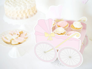 Baby Buggy PINK – Baby Shower DIY Cake Stand - Sandwich or cupcake tray - PDF - Direct download