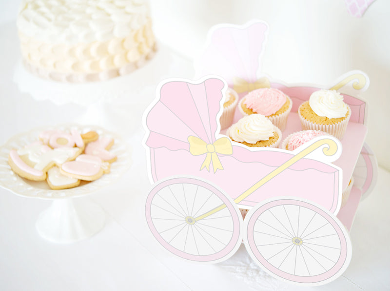 Baby Buggy Pink Baby Shower Diy Cake Stand Sandwich Or Cupcake Tray Pdf Direct Download