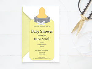 Custom Baby Shower Neutral Invitation - PDF - Direct download - Baby Bottle Card