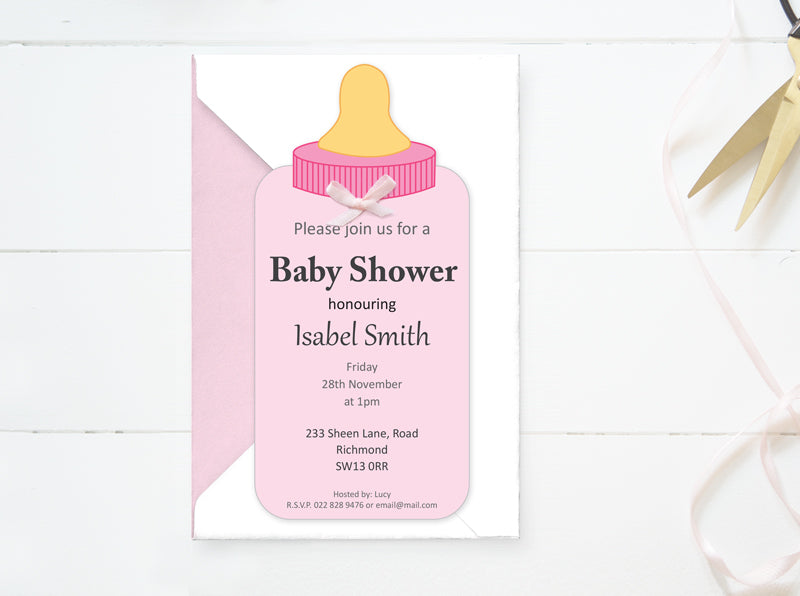 Custom Baby Shower Girl Invitation - PDF - Direct download - Baby Bottle Card