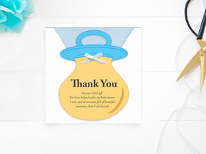 Baby Shower Boy Thank You Card - DIY Baby Card- PDF - Direct download – Baby Dummy Card - BLUE