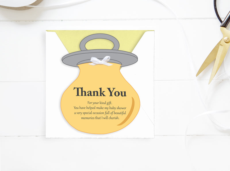 Baby Shower Thank You Card - DIY Baby Card- PDF - Direct download – Baby Dummy Card - YELLOW