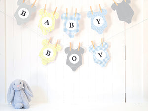 Baby Shower Bunting Printable - BABY BOY - 'Onesie Bunting' - PDF - Direct Download