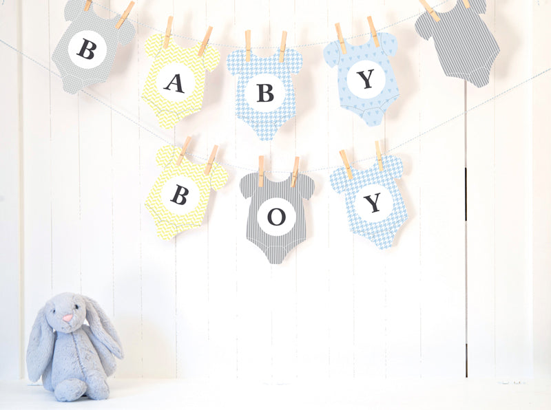 graphic about Onesie Printable named Child Shower Bunting Printable - Child BOY - Onesie Bunting - PDF - Guide Down load