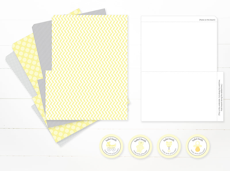 Baby Shower Party Bags and tags – YELLOW & GREY- PDF -  Instant download