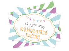 Party Games Set -Digital Printables - Sings for games:  Globoflexia, Tug of War and Walking Stilts Race