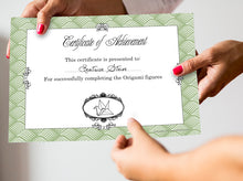 Certificate of Achievement - Origami Party  Games - PDF