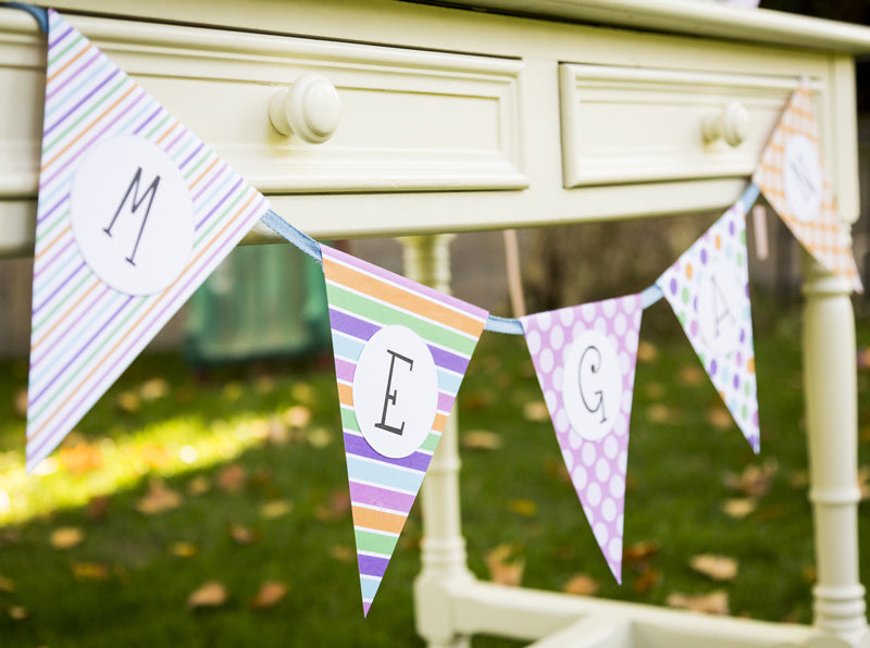 DIY Classic Bunting - Party banner printable - PDF - Cutting files -