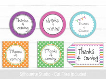 Thanks 4 Coming Tags - Custom Party Bag Labels - PDF - Cut files
