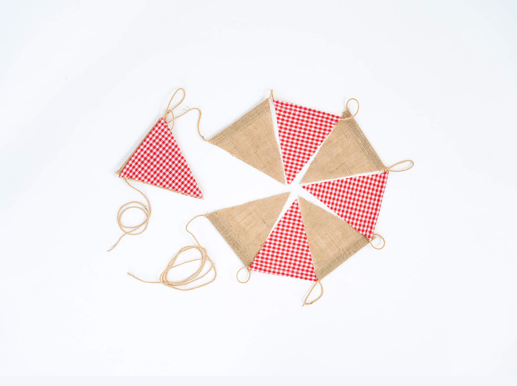 3m / 11 flags Red Gingham and Hessian. Rustic Christmas Party Bunting