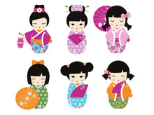 Kokeshi Dolls - Origami Party Decoration - Digital Design - PDF, SVG, DXF, EPS, PNG - Direct Download