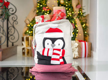 Santa Bags with Penguin Felt Applique