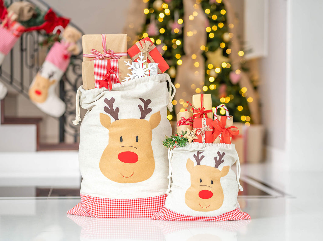 Santa Bags with Reindeer Felt Applique
