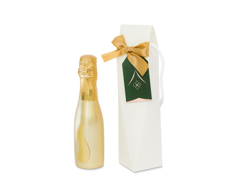Gift Box for a small champagne bottle + Tag - DIGITAL DESING - Black and Gold party - Instant Download - .DXF .SVG .PDF