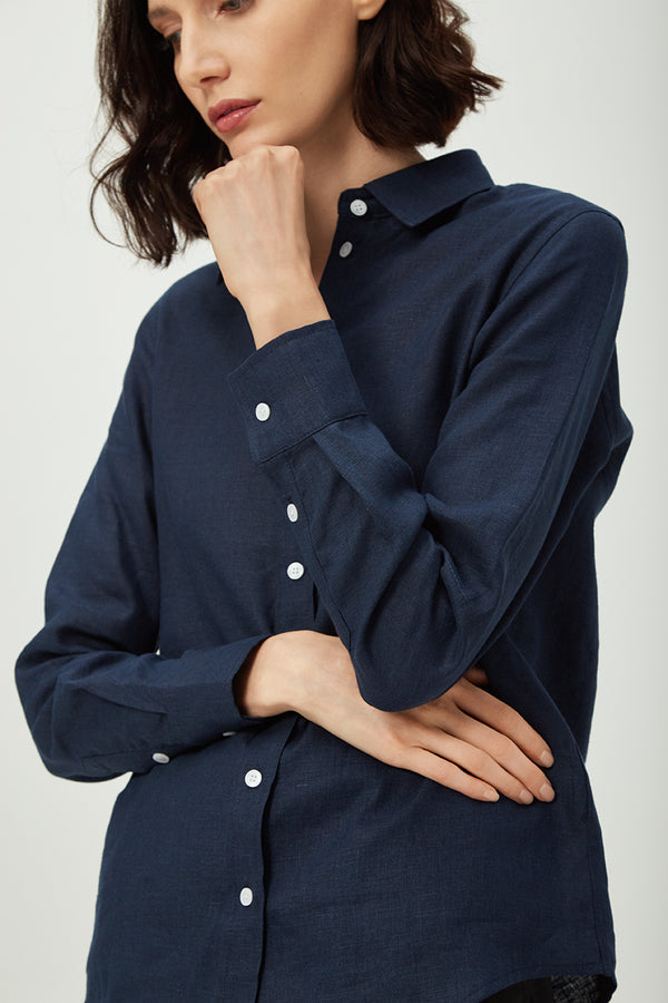 Classic Navy Linen Shirt | Effortless High Quality Clothing by Esyvte