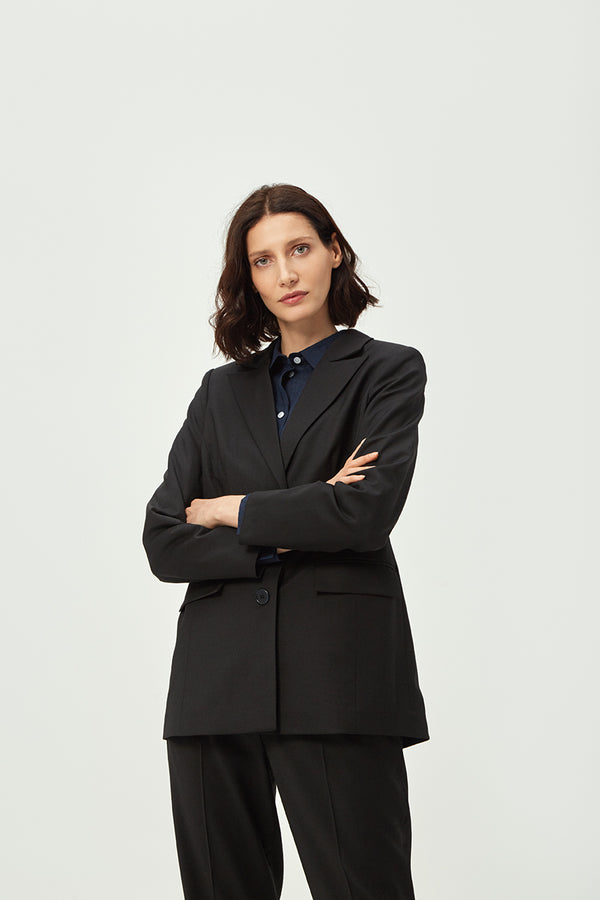 Double Breasted Black Wool Blazer