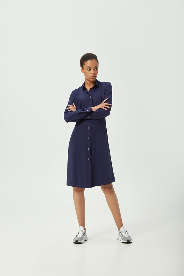 Navy Shirt Dress | Effortless High Quality Clothing by Esyvte