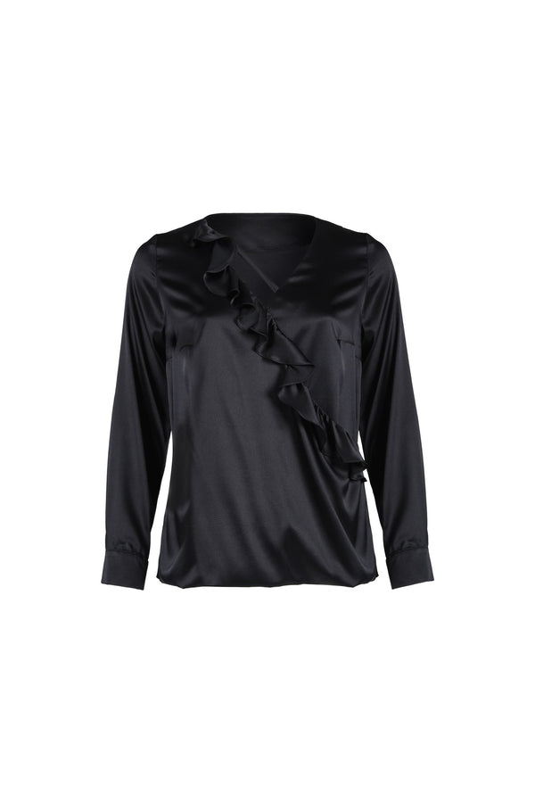 Frills Silk-Blouse Black