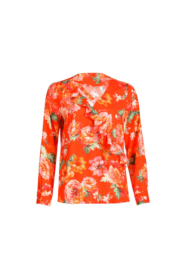 Frills Silk-Blouse Orange Flower