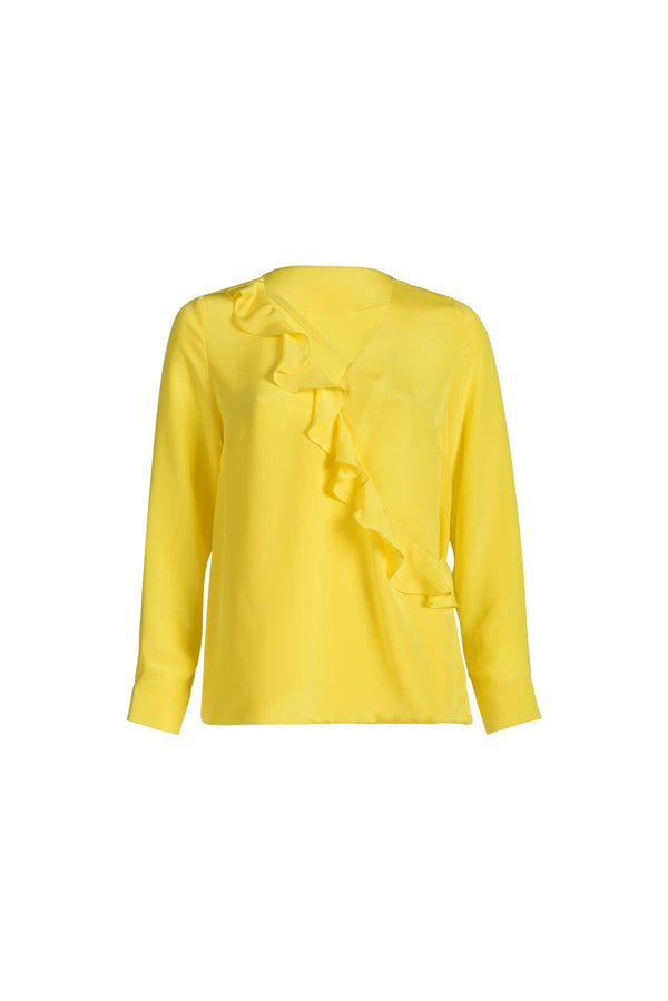 Frills Silk-Blouse Yellow