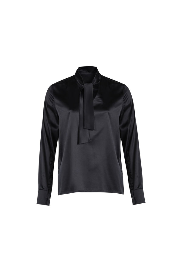 Necktie Silk-Blouse Black