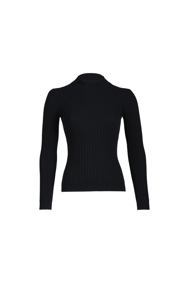 Rib Long Sleeve Black Sweater