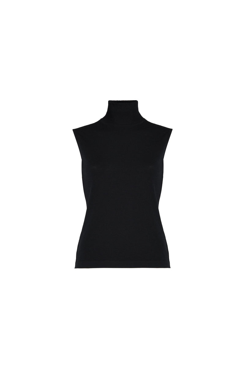 Sleeveless Turtleneck Black Sweater