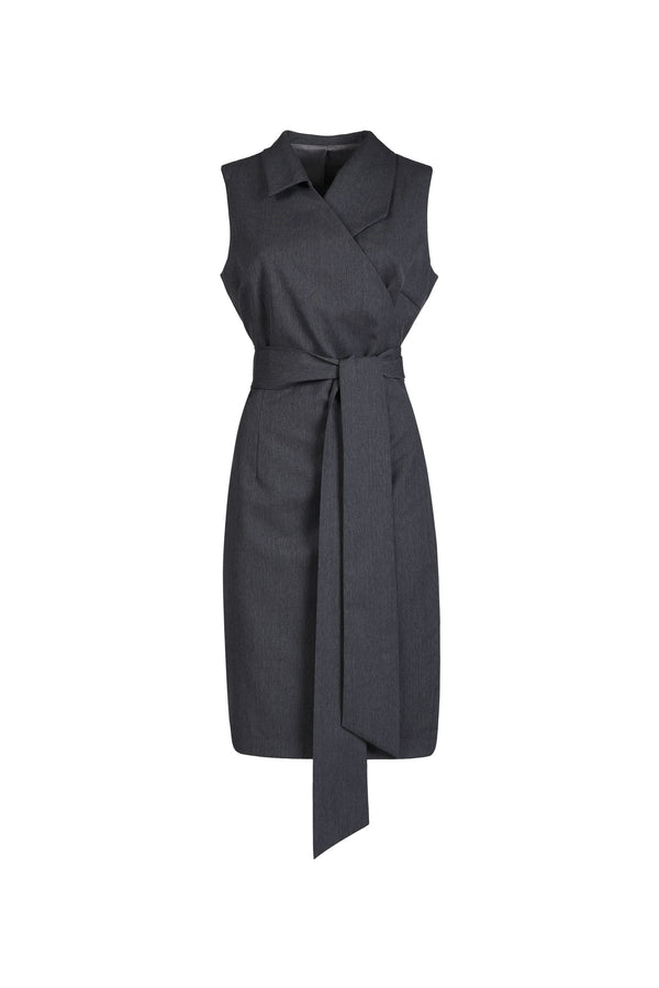Asymmetric Wrap Dress Grey