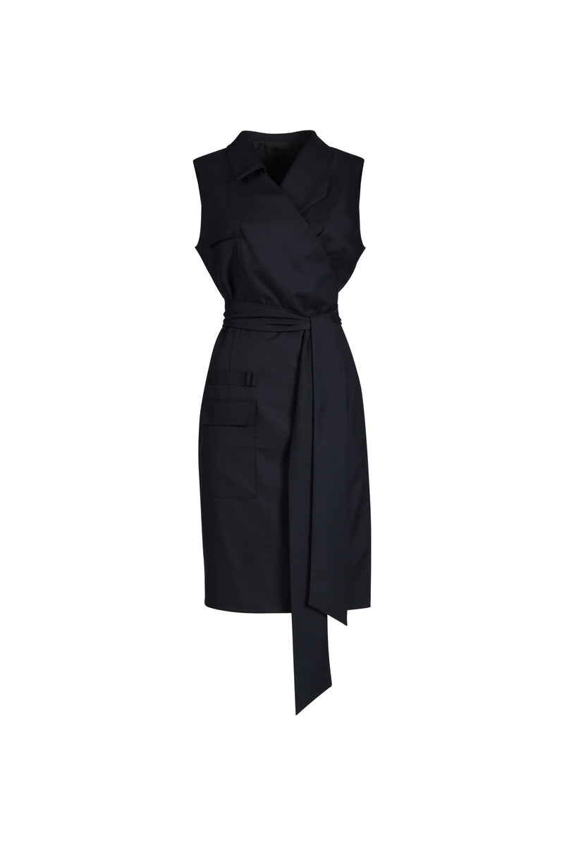 Asymmetric Wrap Dress Black