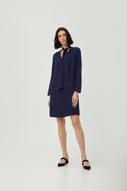 Navy Tie Dress | Effortless High Quality Clothing by Esyvte