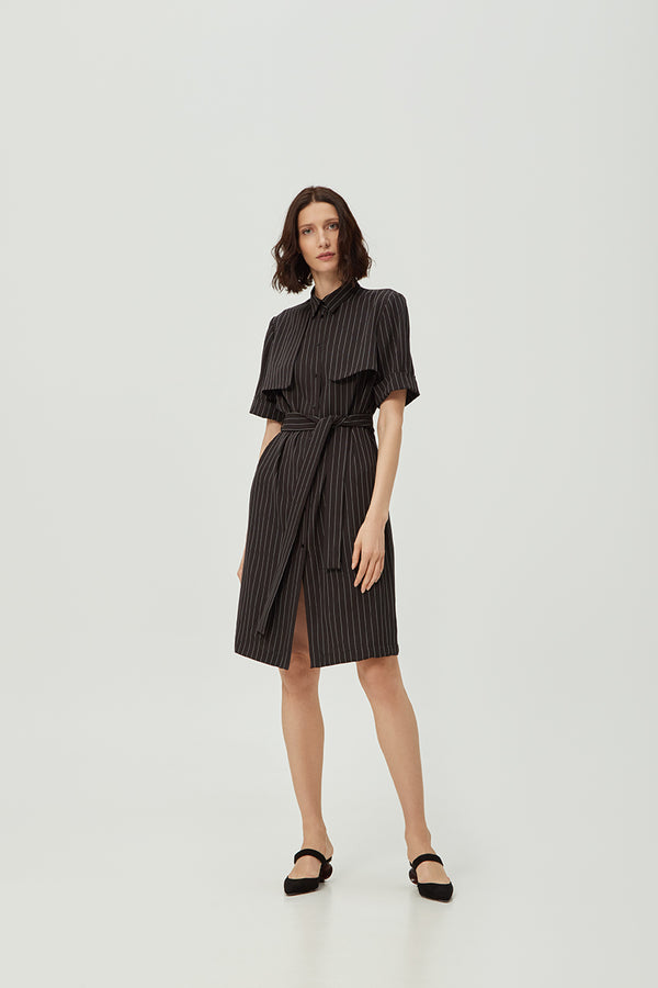 Black Striped Lapel Dress | Effortless High Quality Clothing