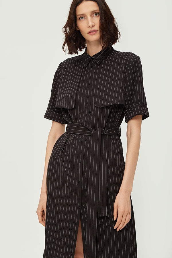 Black Striped Lapel Dress