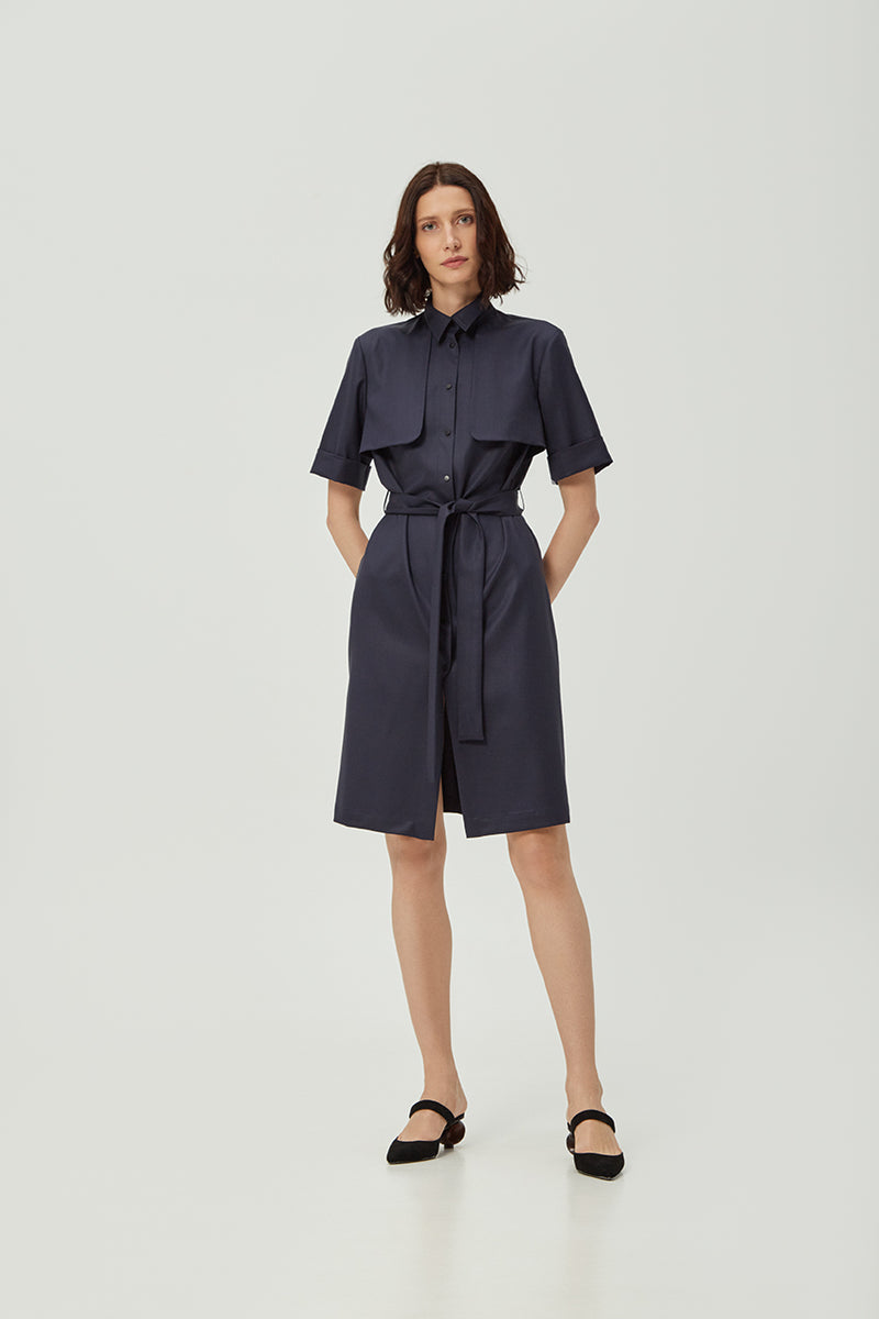 Navy Lapel Dress | Effortless High Quality Clothing by Esyvte