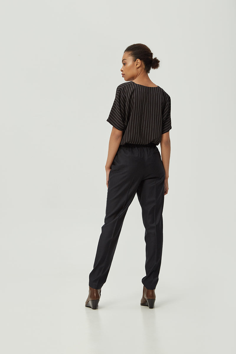 Black Striped Loose-fit Blouse | Effortless High Quality Clothing