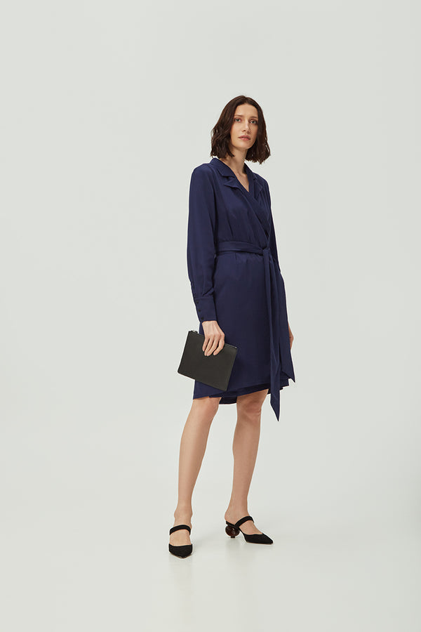 Navy Wrap Dress | Effortless High Quality Clothing by Esyvte
