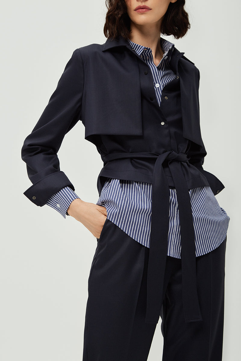 The Navy Blue Lapel Jacket
