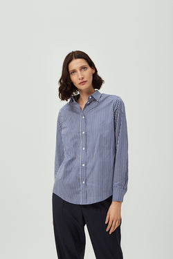 Blue Striped Classic Shirt Effortless High Quality Clothing