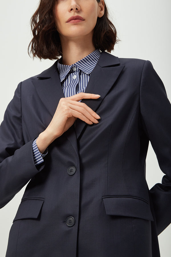 Double Breasted Navy Wool Blazer