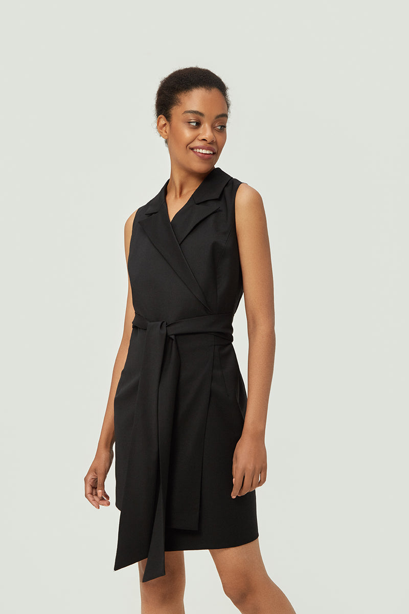 Black Asymmetric Wrap Dress | Effortless High Quality Clothing