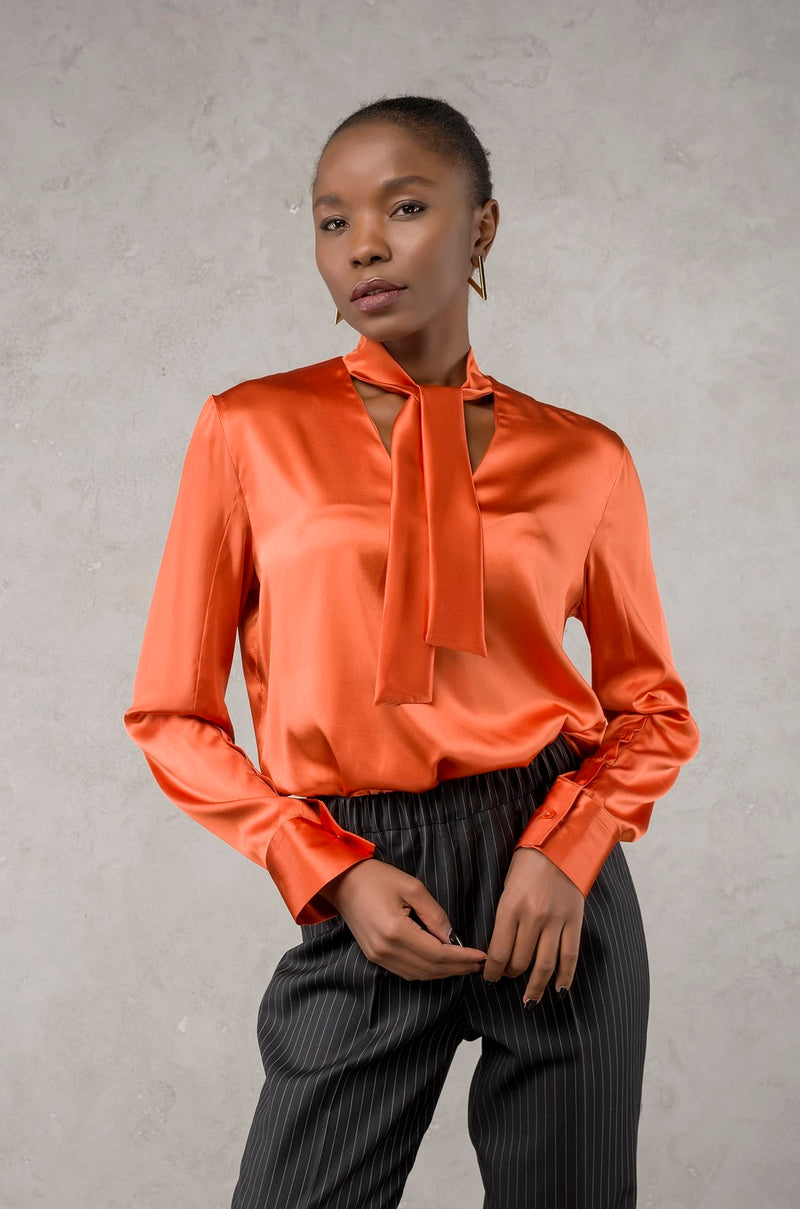 Necktie Silk-Blouse Orange