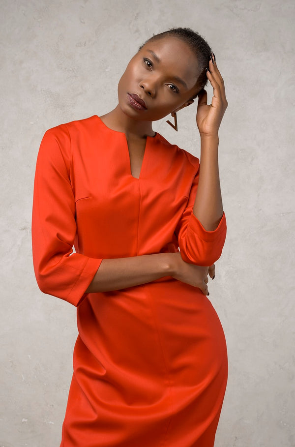 Red V-Neck Dress  | Effortless High Quality Clothing by Esyvte