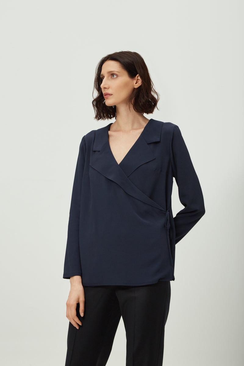 Navy Wrap Blouse | Effortless High Quality Clothing by Esyvte