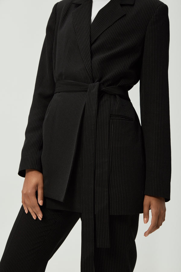 Black Striped Tie Blazer | Effoertless High Quality Clothing