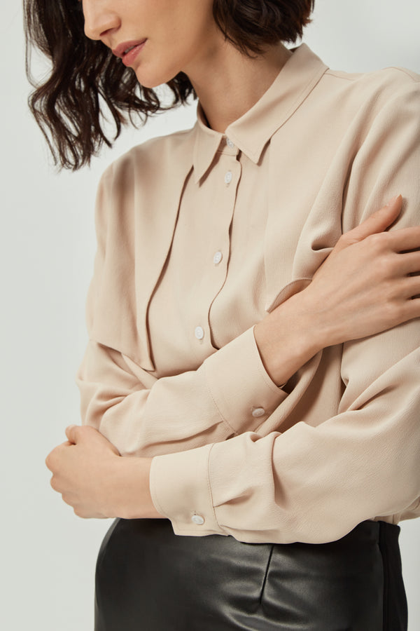 Beige Silk Lapel Shirt | Effortless High Quality Clothing