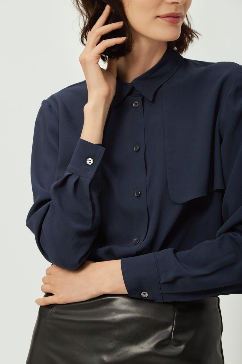 Navy Silk Lapel Shirt | Effortless High Quality Clothing by Esyvte